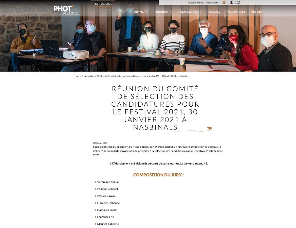 JANVIER 2021 : JURY du COMITÉ de SÉLECTION des expositions Phot'AUBRAC 2021