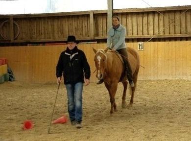Reiten ohne Zügel: Nicole Friedrich, Line Free mit Jimmi + meinem Trainer Honza Blaha