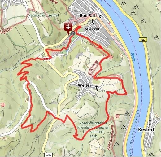 Strecke der Traumschleife Fünfseenblick. Quelle der Karte: www.tourenplaner-rheinland-pfalz.de/de/