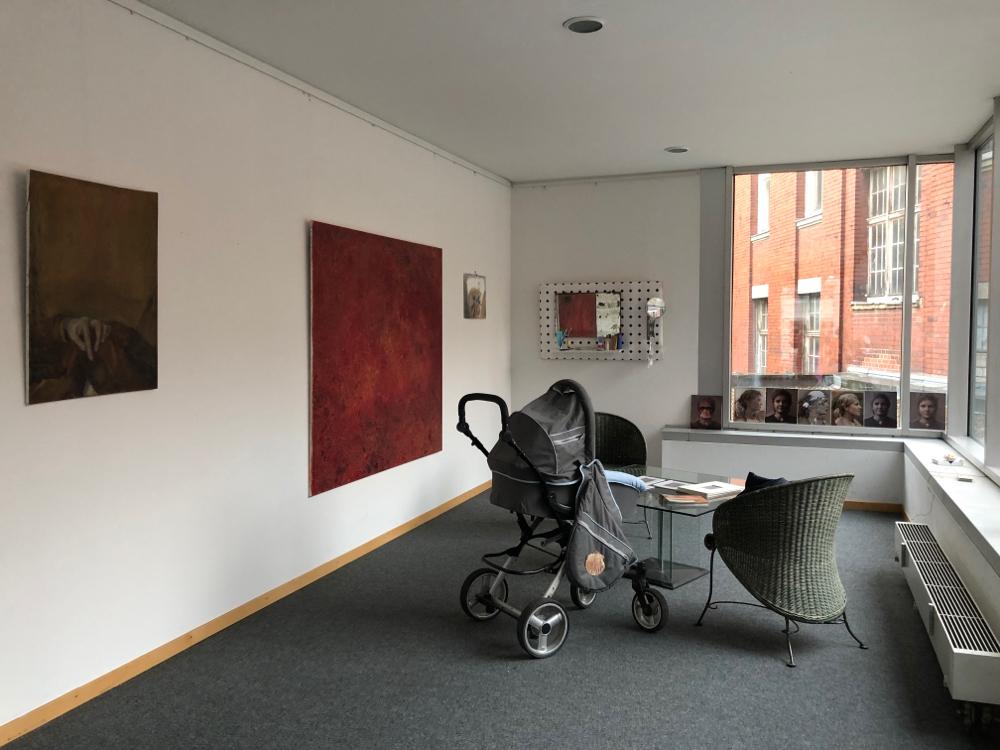 """""""Geschlossene Augen"""", 150 cm x 170 cm, Eitempera, Öl, Neon, Leuchtpigmente auf Leinwand"""