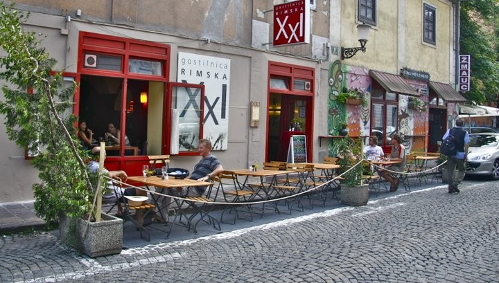 Trendy restaurant XXI and poular pub Žmauc just 2 houses away from Sweethome