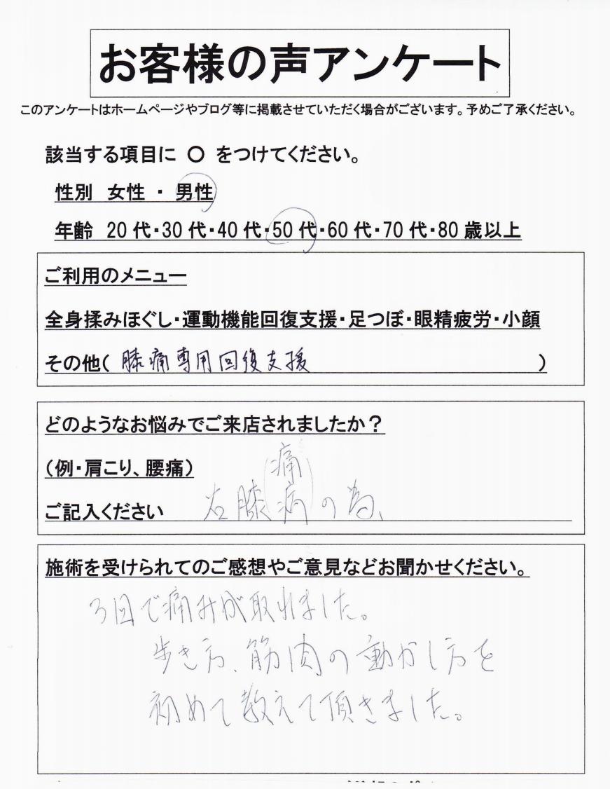 【膝痛専用回復支援】