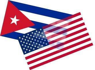 kubanische und US-amerikanische Flagge