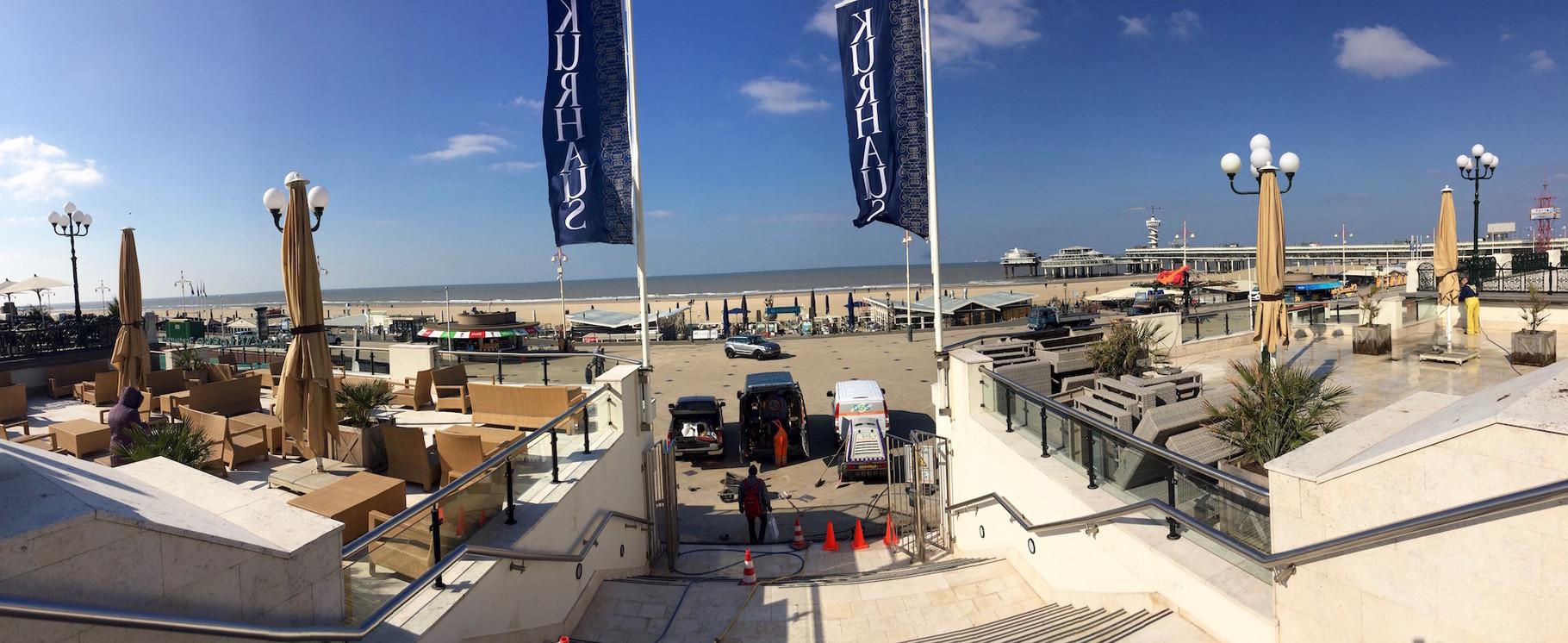 der Blick aus dem Kurhaus auf den Strand