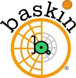 Le logo représente un panier de basket avec un fauteuil et un ballon de basket. Il est écrit Baskin au dessus.