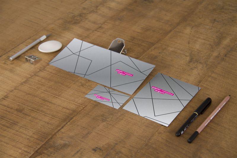 Carte papier métalisé argent