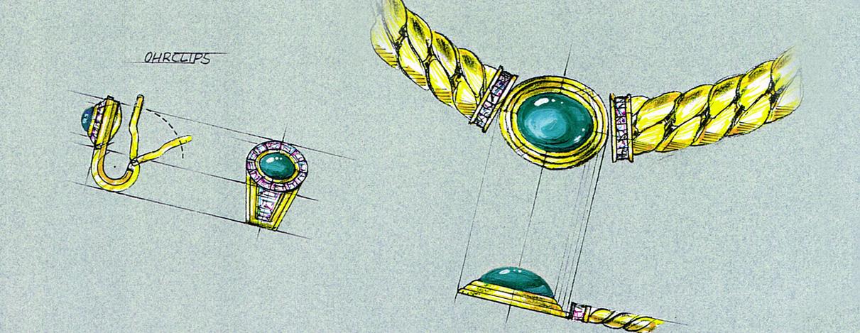 Zeichnung Schmuck – Illustration für eine Vitrine Messestand INHORGENTA