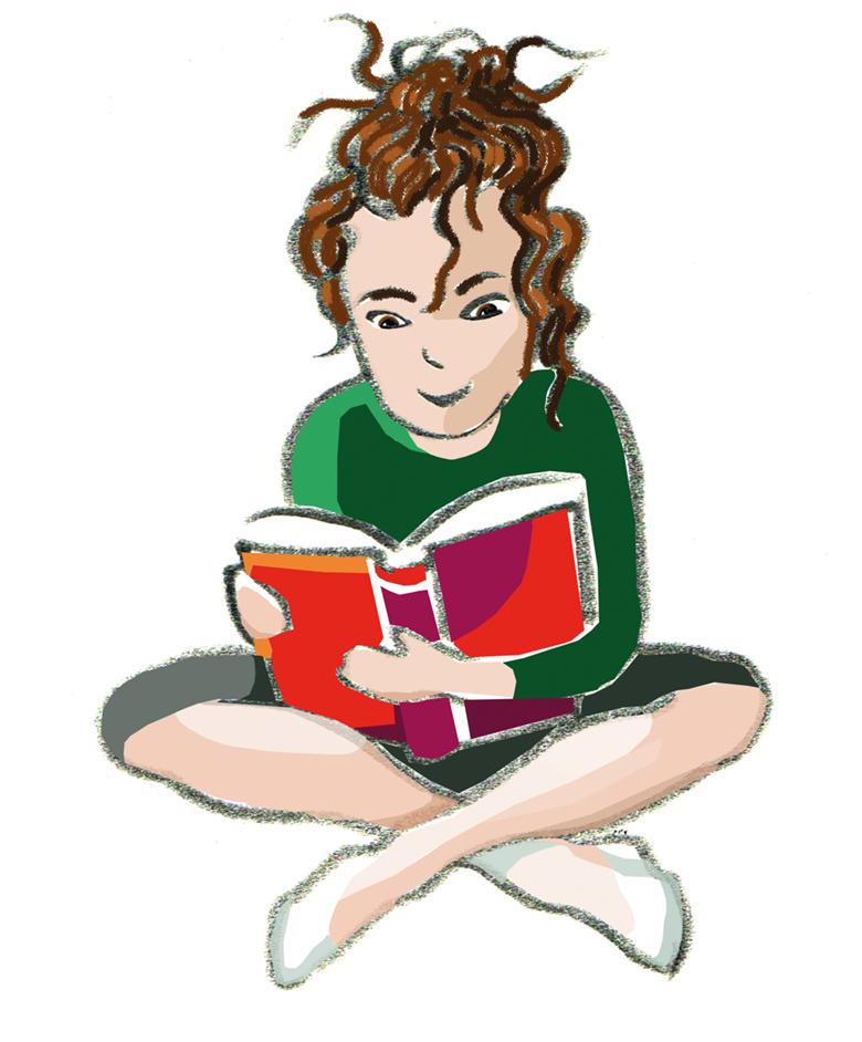 Mädchen liest im Schneidersitz