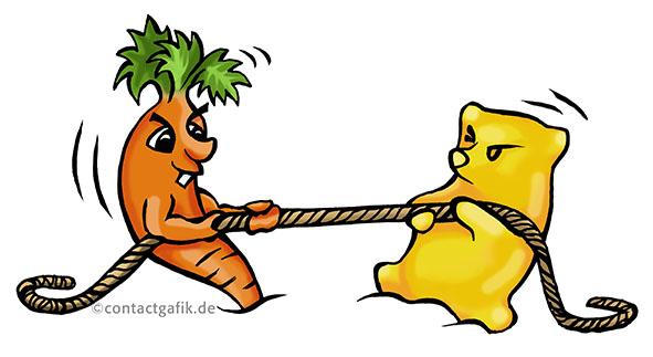 Gummibärchen Karotte Wettstreit