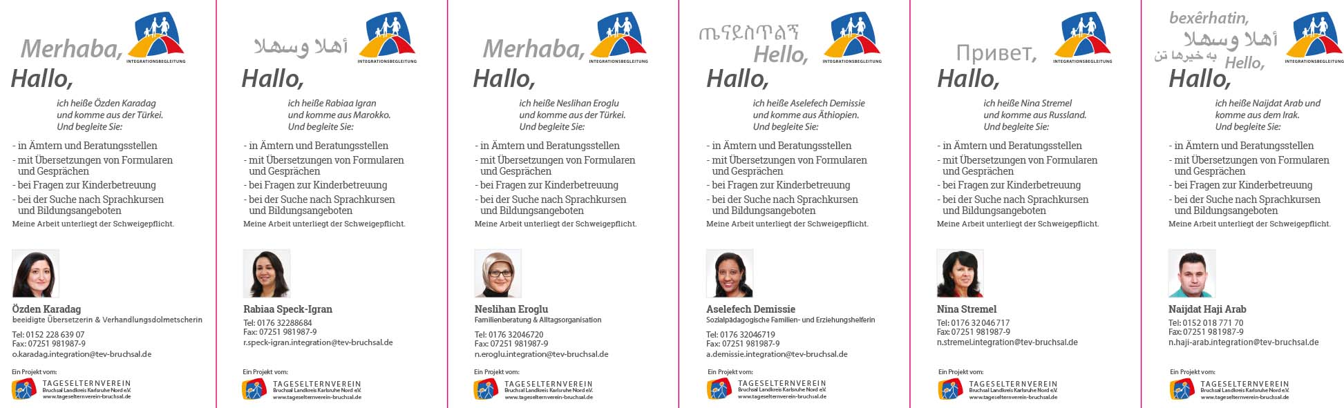 Integrationsbegleitung Bruchsal Folder mehrsprachig