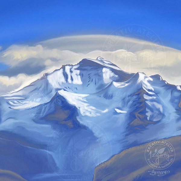 Berg Jungfrau in Blautönen gemalt auf dem iPad