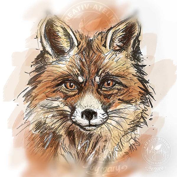 Gezeichneter Fuchs - coloriert am iPad