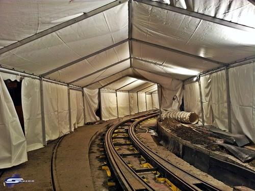Baustellenzelt für Straßen u. Schienenarbeiten