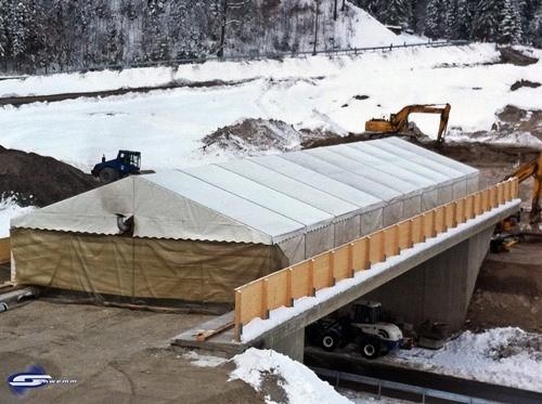 Beheizte Brückenzelte gegen Frostschäden