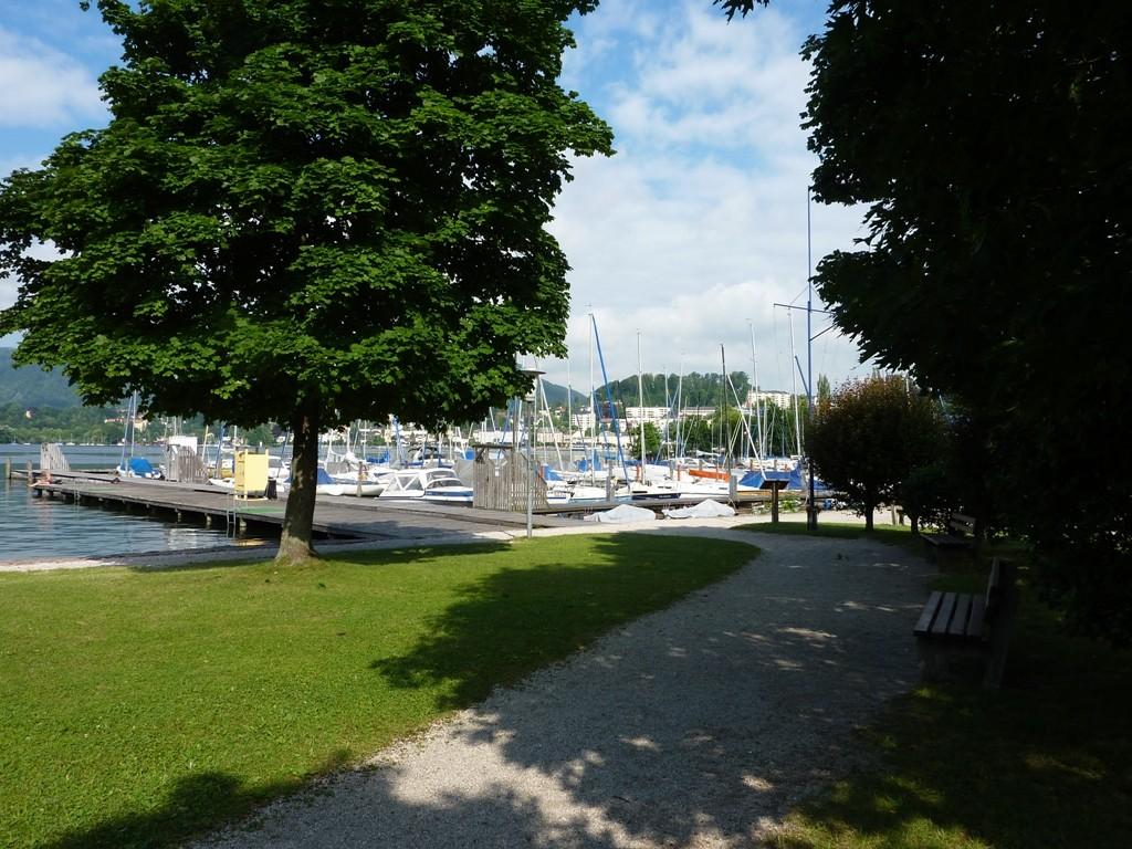 Blick von der sonnigen Liegewiese zu Steg und Yachthafen