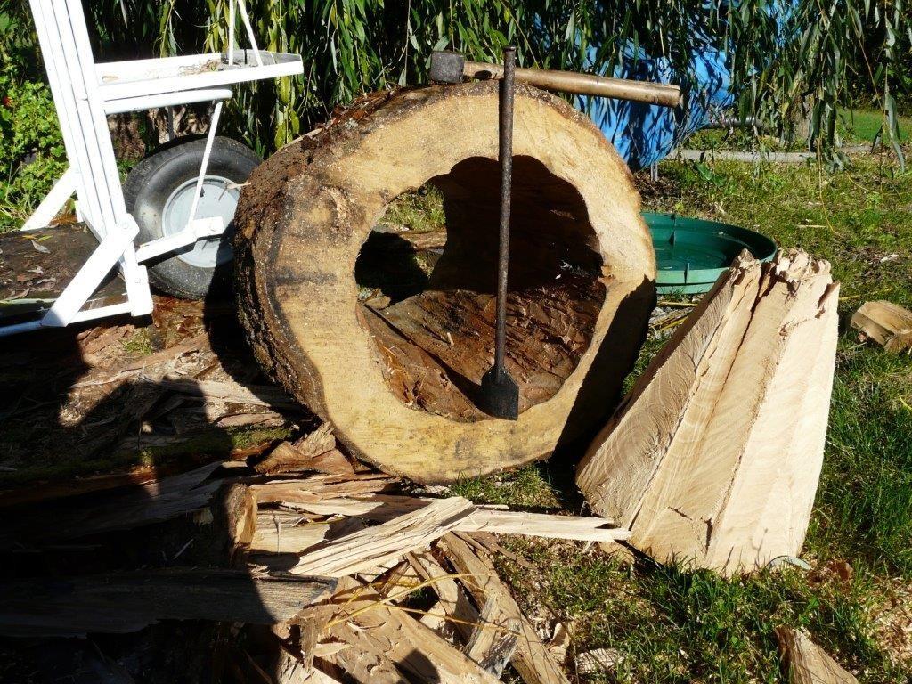 Fabrication d'une ruche tronc par Henri