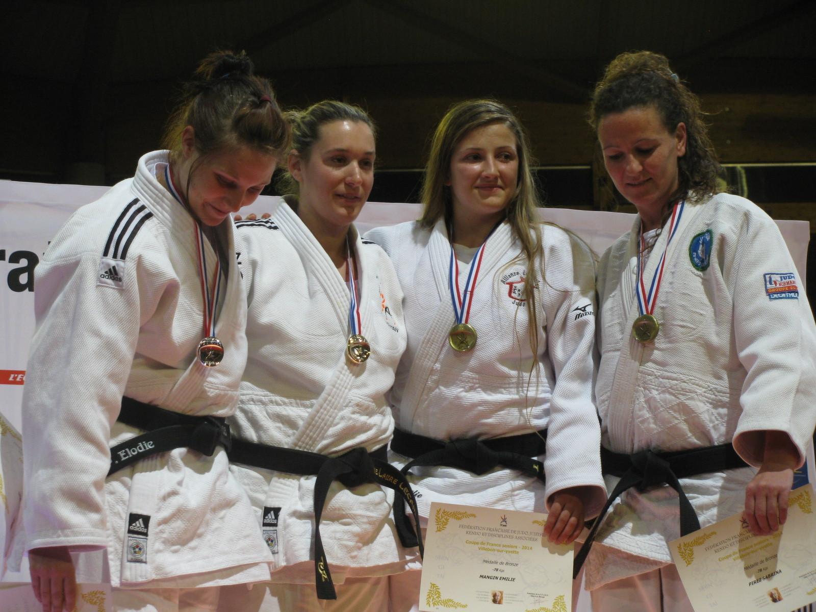 Podium de la Coupe de France catégorie seniors filles -78 kg