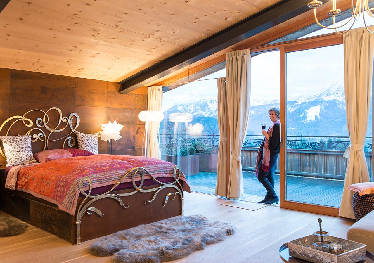 Schlafbereich, Terrasse Apartment Zauberflöte
