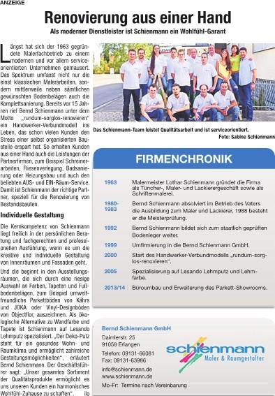 Tratitionsunternehmen, Renovierung aus einer Hand, moderner Dienstleister, Wohlfühlen-Garantie, Firmenchronik Schienmann