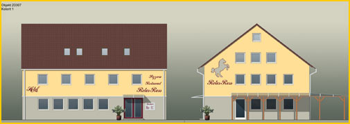 Fassadensanierung und Farbgestaltung einer Gaststätte. Erstellen eines  Farbentwurfes, Austausch der Fenster und Entfernen der Natursteinverblendung.  Die Fassade wurde ganzflächig mit Gewebe armiert und mit wasserabweisendem  Siliconharzputz beschichtet.