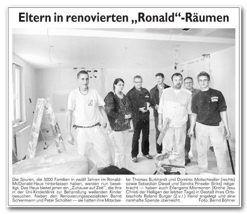 Ronald McDonald Haus, Renovierungsarbeiten, Zuhause auf Zeit