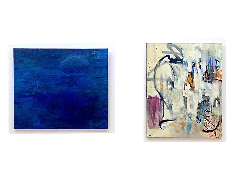 Karin Klindwort: ~ OSTSEE BEI NACHT ~  Öl . 120x100 //  ~ WEISS NICHT ~ Acryl .100x120