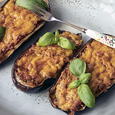 Stuffed aubergine with Lentils and Rice