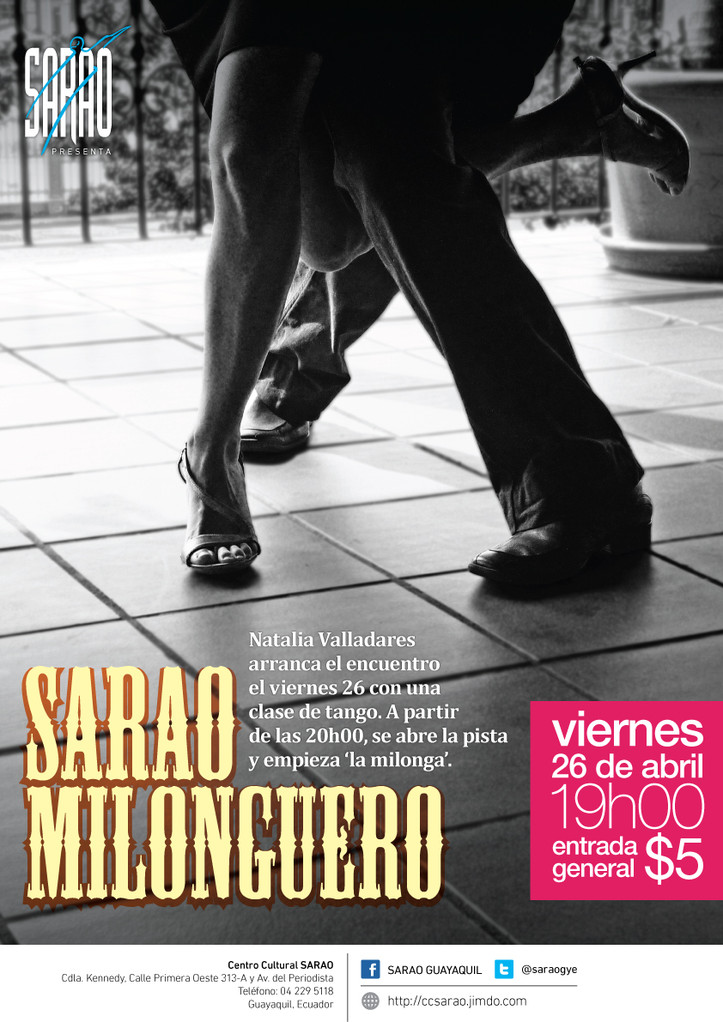 'Sarao Milonguero', clase de tango con Natalia Valladares. A partir de las 20h, empieza 'la milonga'.