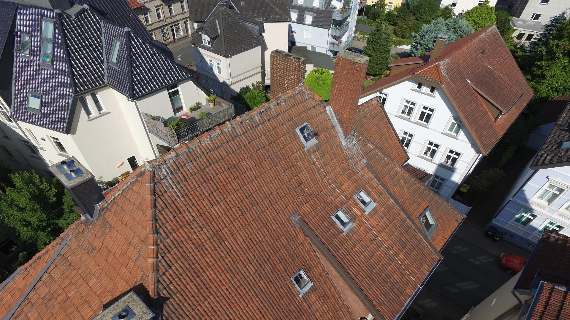 Inspektionsflug eines Daches in Bielefeld