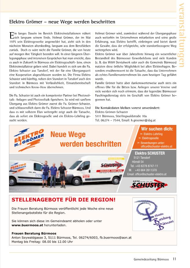 Artikel zur Übernhame in der Bürmooser Gemeindezeitung