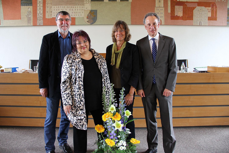 2014, nach der Vereidigung als Kreisrätin mit Ludwig Klingler, Ingrid Stanzel und Martin Bannert