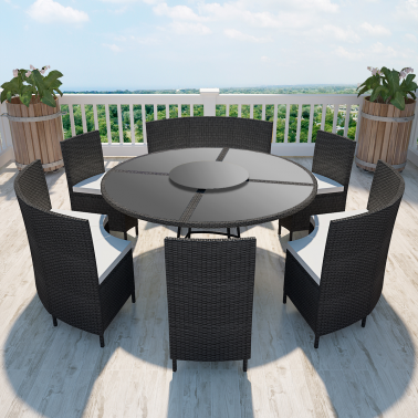 Salon de jardin table ronde plateau tournant 12 places for Salon de jardin 12 places