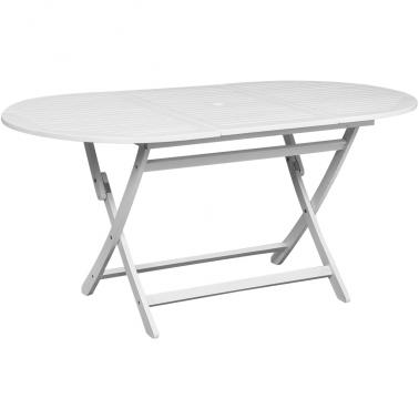 Table d\'extérieur ovale blanche en bois d\'acacia - Mon Jardin Discount