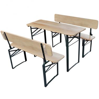 Table pliante et 2 bancs avec dossiers pliants
