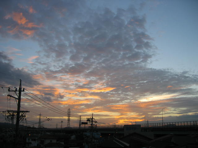 10月8日の朝焼けの風景です。かなり短い時間で変化していきます。富士山からの朝焼けも綺麗ですが平地からでも美しい景色が観察できる・・・早起きは三文の徳ですか!