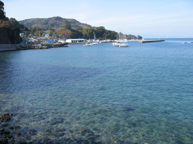 西伊豆の湾内、ヨットハーバーも見えます。