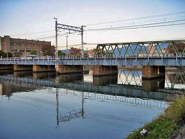 巴川にかかるJRの高架、橋げたなどにシーバスが潜んでいます。