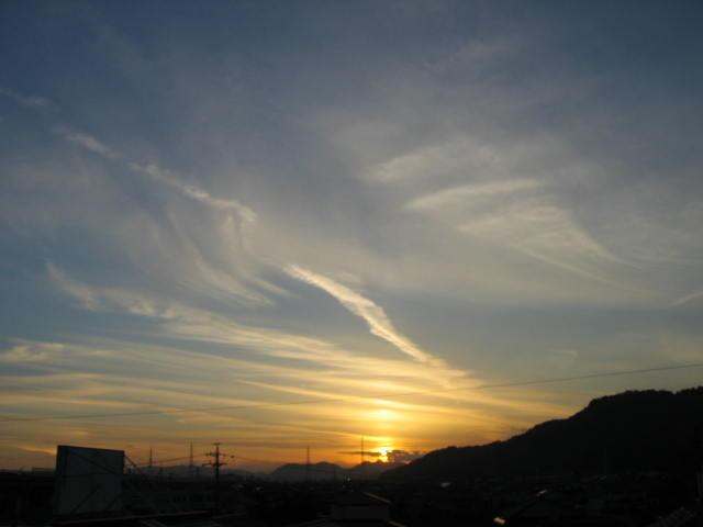 屋上からの夕焼け  2014-1/7