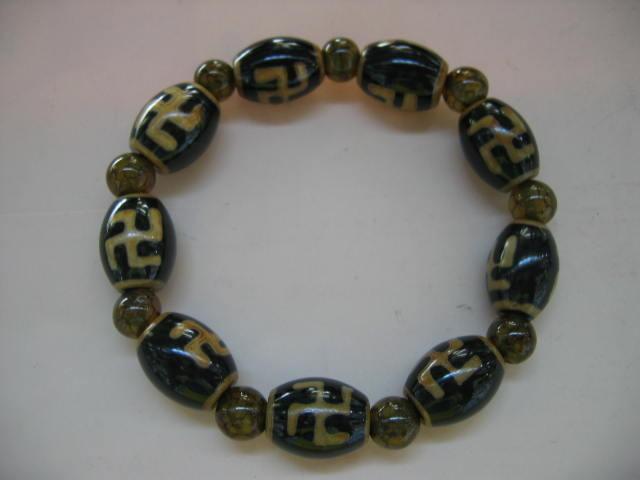 天珠+龍紋石(万字天)万字模様の天珠のパワーブレスレッド|6800
