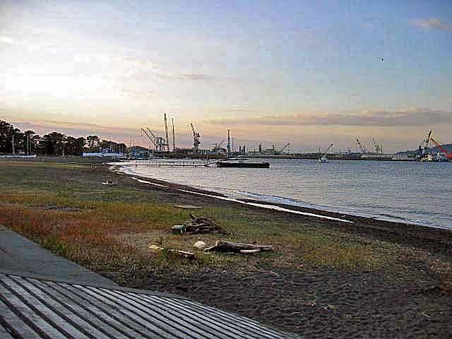 三保の湾内、静かな海です。奥のほうが造船所の工場帯です。