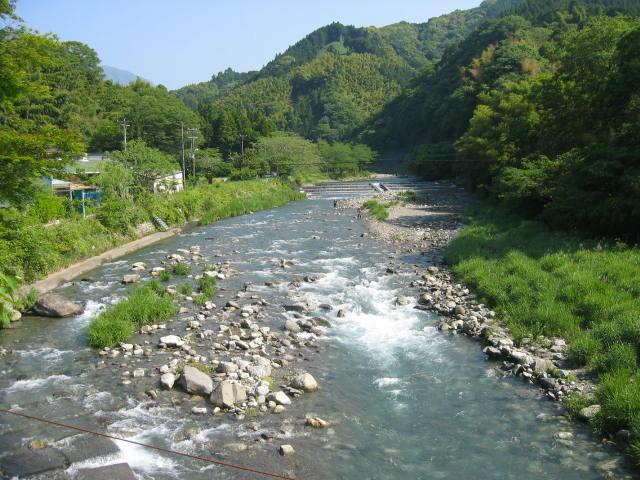 興津川の上流の吊り橋から上流を撮ってみました。このあたりはアユ釣りの好ポイントになります。