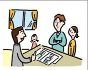 ハウスメーカー営業マンの説明をうけるファミリーのイラスト