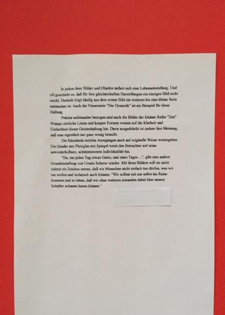 """Bildbeschreibung """"9/11"""" und der Ausstellung in der Raiffeisen-Volksbank im November 2001 von der Künstlerin Ursula Scherer     /        Dr. G.K."""