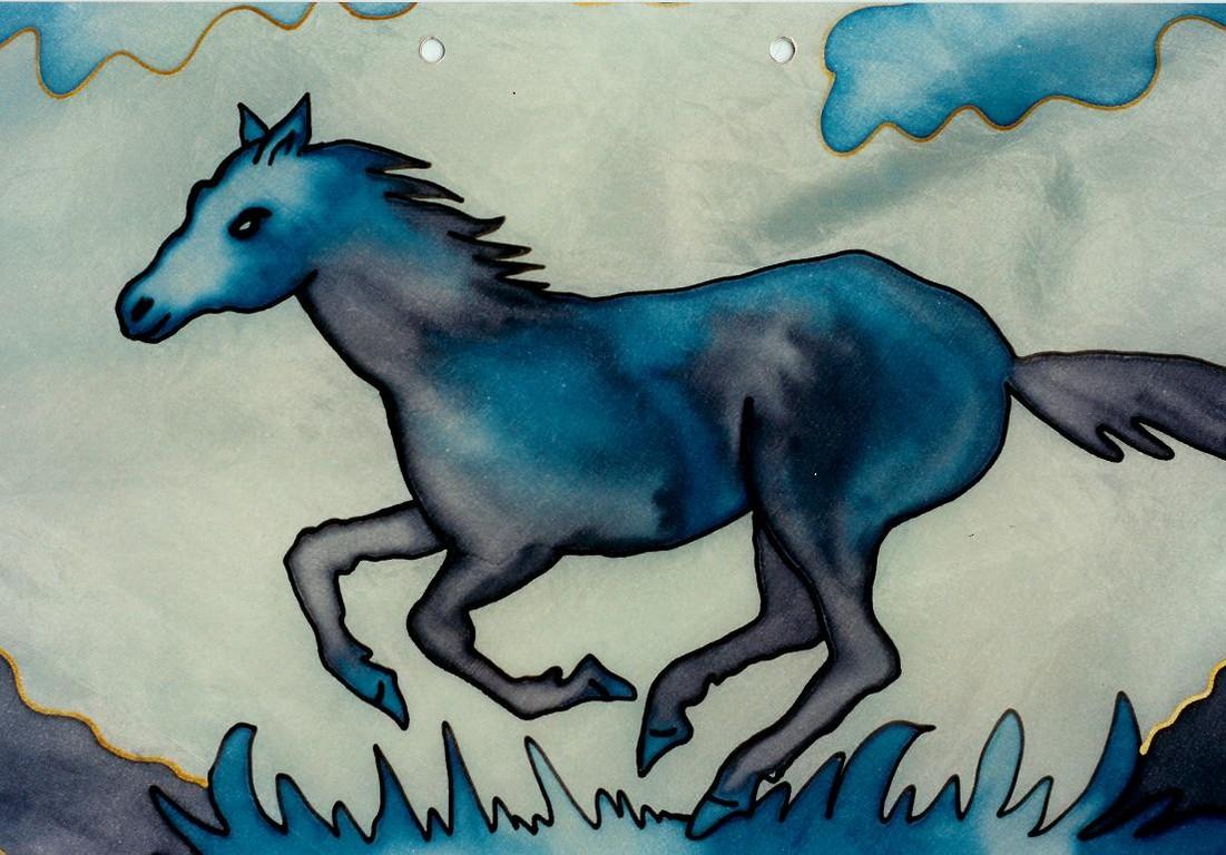 Teilansicht, Pferd auf Seidentuch
