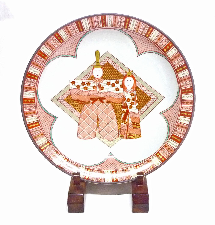 九谷焼『飾り皿』赤絵細描立雛文