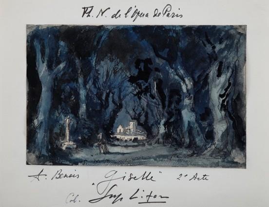 パリ・オペラ座図書館に残る『ジゼル』第2幕、アレクサンドル・ブノワの美術絵