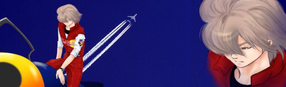 エアレースの興奮冷めやらぬヘッダ   背景の飛行機雲写真 photo by jonrawlinson様