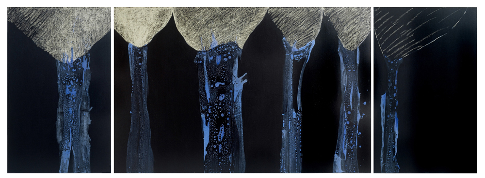 Tryptique bleu, 130 X 362 cm