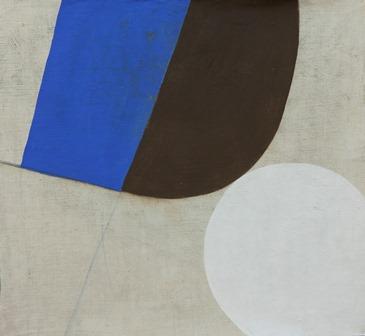 Composition avec rond blanc - octobre 2017- Tempera s t-39x42cm