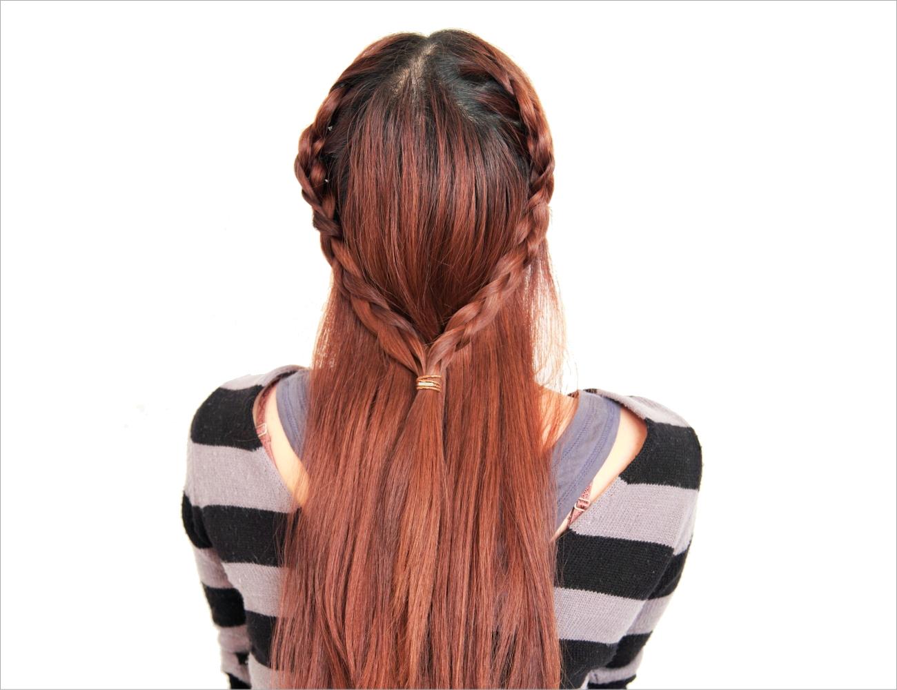 サイド編み込みストレートヘア